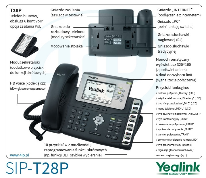 Telefon sekretarski Yealink SIP-T28P na 6 linii VoIP